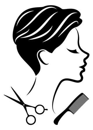 Silhouette of a cute lady. The girl shows a hairstyle on medium and short hair and scissors. Ilustracja