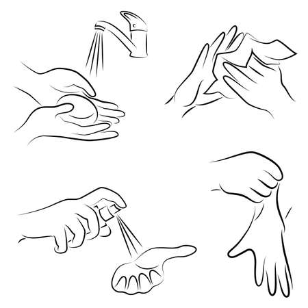 Collection of hygiene procedures. Wash your hands with soap under the tap, wipe with a napkin, treat with an antiseptic, wear rubber gloves. Vector illustration of a set