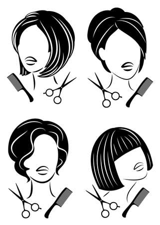 Collection. Silhouette of a cute lady. The girl shows a hairstyle on medium and short hair and scissors. Ilustração