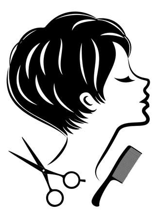 Silhouette of a cute lady. The girl shows a hairstyle on medium and long hair and scissors