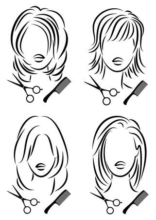 Collection. Silhouette of a cute lady. The girl shows a hairstyle on medium and long hair and scissors.
