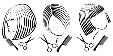 Collection. Silhouette of a cute lady. The girl shows a hairstyle on medium and short hair and scissors. Ilustracja