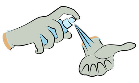 Hands in gloves. Antiseptic disinfection. Hygienic procedure. Disease prevention, good for health. Vector illustration  Çizim