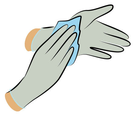 Wear sterile gloves. Wipe with an antiseptic cloth. Hygienic procedure. Disease prevention, good for health. Vector illustration Ilustração