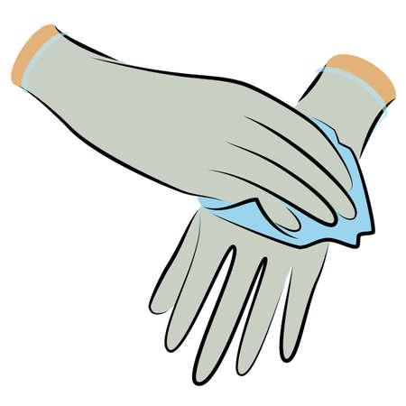 Wear sterile gloves. Wipe with an antiseptic cloth. Hygienic procedure. Disease prevention, good for health. Vector illustration Ilustracja