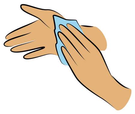 Rub your hands with a clean towel. Hygienic procedure. Disease prevention, good for health. Vector illustration Ilustracja