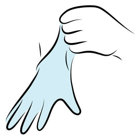 Put rubber gloves on your hands. Hygienic procedure. Disease prevention, good for health. Vector illustration.