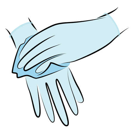 Rub your hands with a clean towel. Hygienic procedure. Disease prevention, good for health. Vector illustration Ilustração