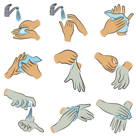 Collection of hygiene procedures. Wash your hands with soap under the tap, wipe with a napkin, treat with an antiseptic, wear rubber gloves. Vector illustration of a set.