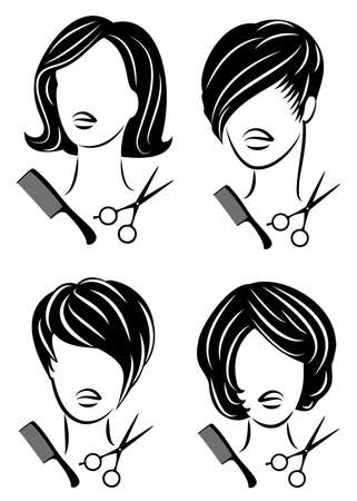 Collection. Silhouette of a cute lady. The girl shows a hairstyle on medium and short hair and scissors. Çizim