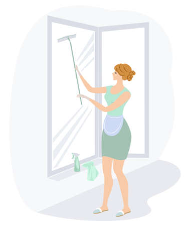 Profile of a sweet lady. A girl is washing windows. A woman is a good wife and a neat housewife. Vector illustration