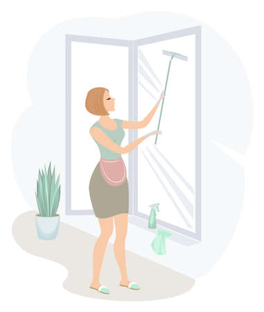 Profile of a sweet lady. A girl is washing windows. A woman is a good wife and a neat housewife. Vector illustration.