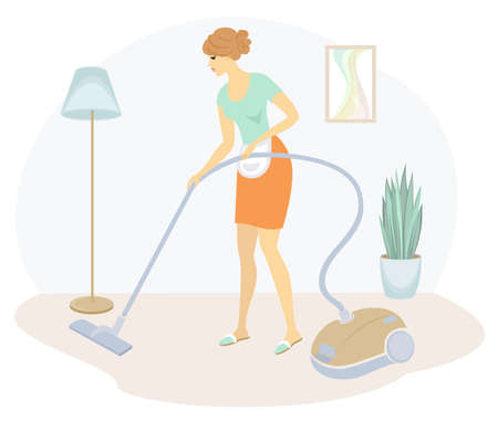 Silhouette of a sweet lady. The girl is cleaning the apartment, vacuuming the floor with a vacuum cleaner. The woman is a neat housewife. Vector illustration.