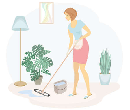 Profile of a cute lady. A girl mops the floor in the room. The woman is a good wife and a tidy housewife. Vector illustration. Stok Fotoğraf - 147474765