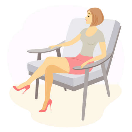 A beautiful lady is sitting in an armchair. The girl has a slim figure. The woman is resting. Vector illustration