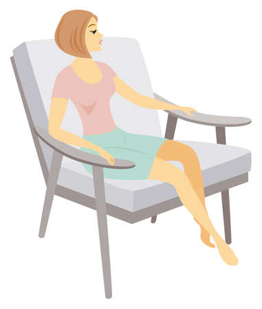 A beautiful lady is sitting in an armchair. The girl has a slim figure. The woman is resting. Vector illustration.