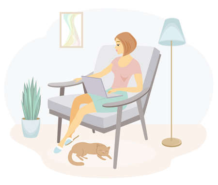 A beautiful lady is sitting in an armchair. Girl works in a laptop. The woman has a slim figure. Vector illustration.