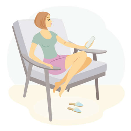 A beautiful lady is sitting in an armchair. The girl looks and speaks on the phone. The woman has a slim figure. Vector illustration. Ilustracja