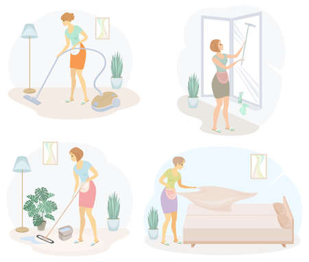 Collection. Profile of a cute lady. The girl cleans, mopping the floor, windows, vacuuming the room, making the bed. The woman is a good wife and a tidy housewife. Vector illustration.