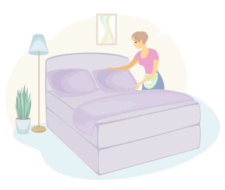 Profile of a sweet lady. The girl is making the bed in the room. A woman is a good wife and a neat housewife. Vector illustration.