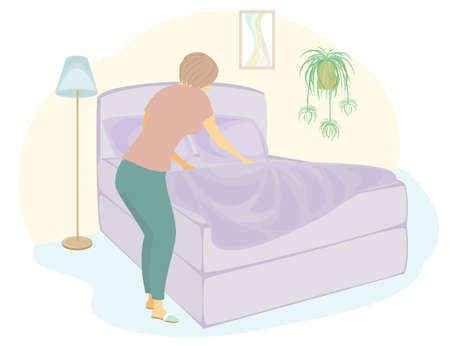 Profile of a sweet lady. The girl is making the bed in the room. A woman is a good wife and a neat housewife. Vector illustratio Ilustracja