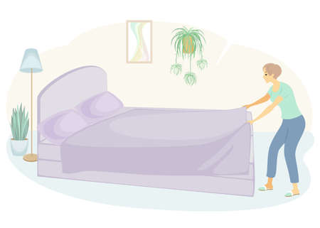 Profile of a sweet lady. The girl is making the bed in the room. A woman is a good wife and a neat housewife. Vector illustration Ilustracja