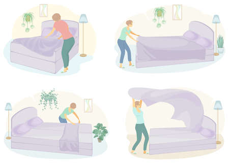Collection. Profile of a cute lady. The girl makes the bed in the room. The woman is a good wife and a tidy housewife. Vector illustration of a set.