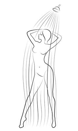 Silhouette of a cute young lady. The girl washes in the shower. The woman has a slim beautiful figure. Vector illustration Banco de Imagens - 149664144
