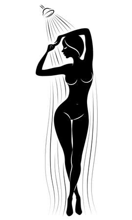 Silhouette of a cute young lady. The girl washes in the shower. The woman has a slim beautiful figure. Vector illustration. Ilustração
