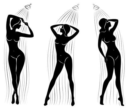 Collection. Silhouette of a cute young lady. The girl washes in the shower. The woman has a slim beautiful figure. Vector illustration set.