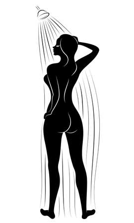 Silhouette of a cute young lady. The girl washes in the shower. The woman has a slim beautiful figure. Vector illustration. Stok Fotoğraf - 149664148