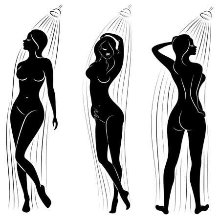 Sammlung. Schattenbild einer netten jungen Dame. Das Mädchen wäscht sich unter der Dusche. Die Frau hat eine schlanke schöne Figur. Vektor-Illustration-Set.