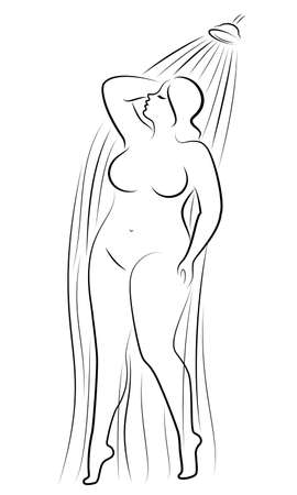 Silhouette of a cute young lady. The girl washes in the shower. The woman has a slender large magnificent beautiful figure. Vector illustration. Ilustração