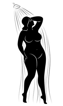 Silhouette of a cute young lady. The girl washes in the shower. The woman has a slender large magnificent beautiful figure. Vector illustration. Illustration