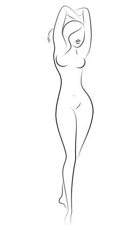 Silhouette of a cute lady, she is standing. The girl has a beautiful nude figure. Woman - young sexy and slim model. Vector illustration Ilustracja