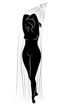 Silhouette figure of a big woman. The girl washes in the shower. A woman is overweight, she is beautiful and sexy. Vector illustration