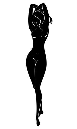 Silhouette of a cute lady, she is standing. The girl has a beautiful nude figure. Woman - young sexy and slim model. Vector illustration.