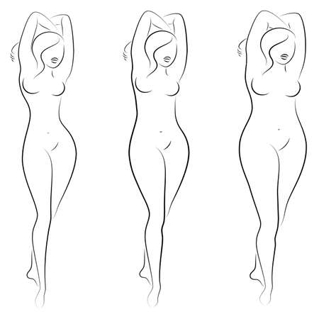 Collection. Silhouette of a beautiful woman figure. The girl is thin, slender and the woman is fat. The lady is standing. Set of vector illustrations.