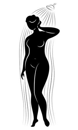 Silhouette figure of a big woman. The girl washes in the shower. A woman is overweight, she is beautiful and sexy. Vector illustration. Ilustração