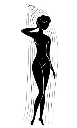 Silhouette of a cute young lady. The girl washes in the shower. The woman has a slim beautiful figure. Vector illustration. Ilustracja