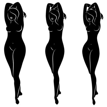 Collection. Silhouette of a beautiful woman figure. The girl is thin, slender and the woman is fat. The lady is standing. Set of vector illustrations. Vecteurs