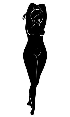 Silhouette of a figure of a slim naked woman. The girl is standing. A lady full of beautiful and sexy. Vector illustration