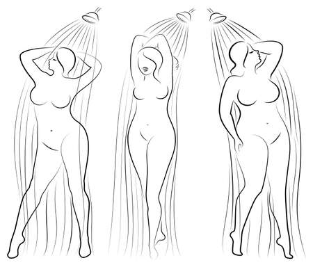 Collection. Silhouette figure of a big woman. The girl washes in the shower. A woman is overweight, she is beautiful and sexy. Vector illustration set.