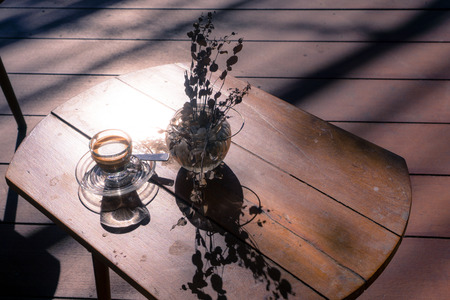 Eucalyptus and coffee on the wood table