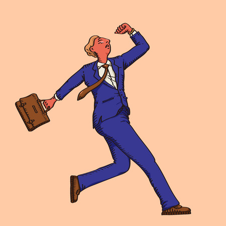 businessman with a briefcase. retro design pen drawing vector illustration