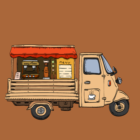 Street coffee truck. Fast delivery van retro design pen drawing vector illustration
