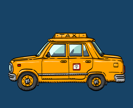 illustration of a yellow car, digital taxi service