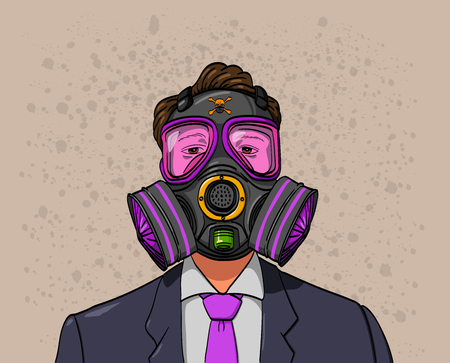 A man wearing a gas mask to resist bad air