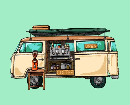 Street coffee van. truck cafe. Fast delivery. vector illustration
