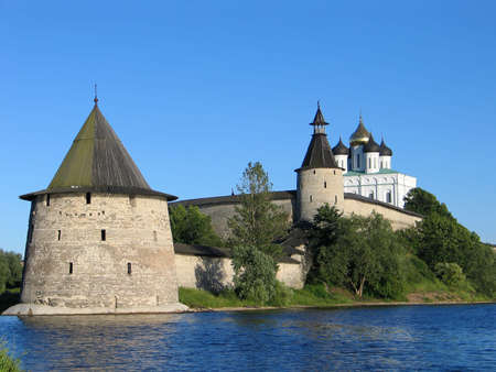 View of the Pskov Kremlin on the river. (Russia) photo